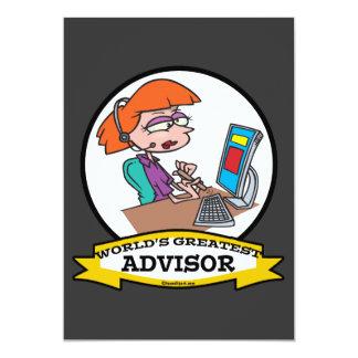 WORLDS GREATEST ADVISOR WOMEN CARTOON 5X7 PAPER INVITATION CARD