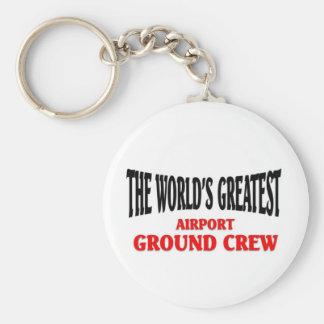 World's Greatest Airport Ground Crew Basic Round Button Key Ring