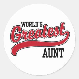 World's Greatest Aunt Round Sticker