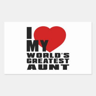 WORLD'S GREATEST AUNT RECTANGULAR STICKER