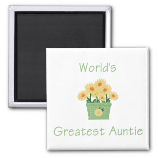 World's Greatest Auntie (flower) Square Magnet