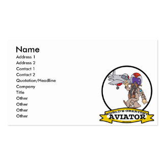 WORLDS GREATEST AVIATOR MEN MALE CARTOON PACK OF STANDARD BUSINESS CARDS