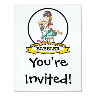 WORLDS GREATEST BABBLER WOMEN CARTOON 11 CM X 14 CM INVITATION CARD