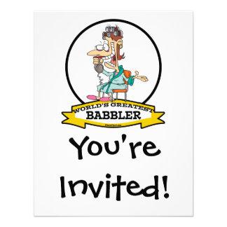 WORLDS GREATEST BABBLER WOMEN CARTOON CUSTOM INVITATIONS