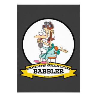WORLDS GREATEST BABBLER WOMEN CARTOON PERSONALIZED INVITATION