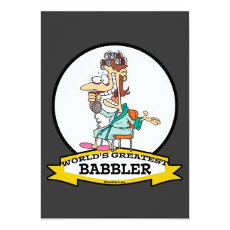 "WORLDS GREATEST BABBLER WOMEN CARTOON 5"" X 7"" INVITATION CARD"