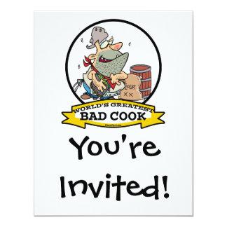 WORLDS GREATEST BAD COOK MEN CARTOON 11 CM X 14 CM INVITATION CARD