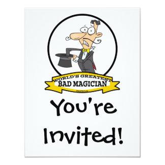 WORLDS GREATEST BAD MAGICIAN CARTOON 11 CM X 14 CM INVITATION CARD