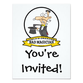 WORLDS GREATEST BAD MAGICIAN CARTOON PERSONALIZED ANNOUNCEMENT