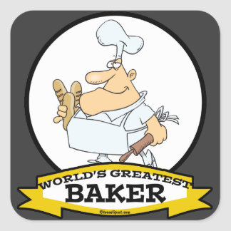 WORLDS GREATEST BAKER MEN CARTOON STICKER