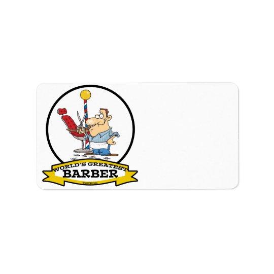 WORLDS GREATEST BARBER MEN CARTOON LABEL