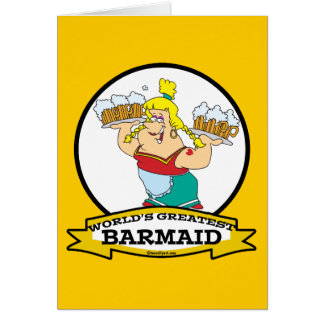 WORLDS GREATEST BARMAID WOMEN CARTOON GREETING CARD