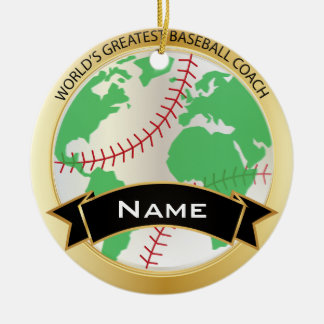 World's Greatest Baseball Coach | DIY Text Round Ceramic Decoration
