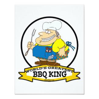 WORLDS GREATEST BBQ KING MEN CARTOON 11 CM X 14 CM INVITATION CARD