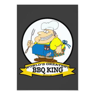 WORLDS GREATEST BBQ KING MEN CARTOON 13 CM X 18 CM INVITATION CARD