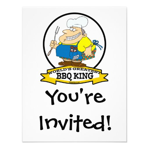 WORLDS GREATEST BBQ KING MEN CARTOON PERSONALIZED ANNOUNCEMENTS