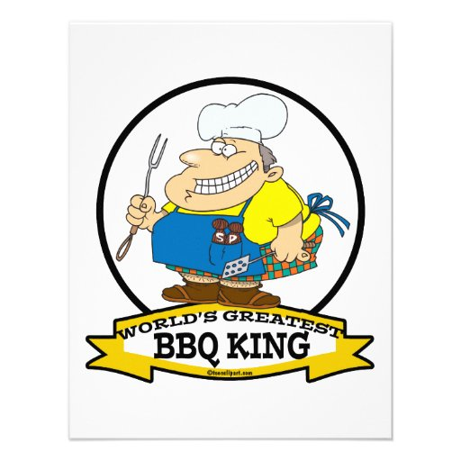 WORLDS GREATEST BBQ KING MEN CARTOON ANNOUNCEMENT
