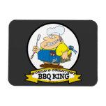 WORLDS GREATEST BBQ KING MEN CARTOON RECTANGULAR MAGNETS