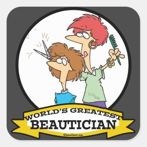 WORLDS GREATEST BEAUTICIAN WOMEN CARTOON STICKERS
