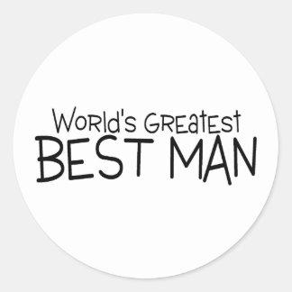 Worlds Greatest Best Man Wedding Round Sticker