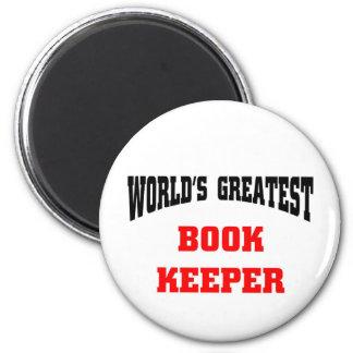 World's greatest book keeper 6 cm round magnet