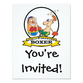 WORLDS GREATEST BOXER MEN CARTOON 11 CM X 14 CM INVITATION CARD