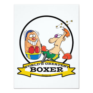WORLDS GREATEST BOXER MEN CARTOON PERSONALIZED INVITE