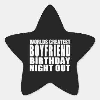 Worlds Greatest Boyfriend Birthday Night Out Star Sticker