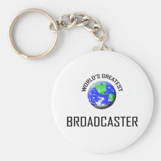 World's Greatest Broadcaster Basic Round Button Key Ring