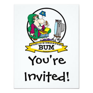 WORLDS GREATEST BUM MEN CARTOON 11 CM X 14 CM INVITATION CARD