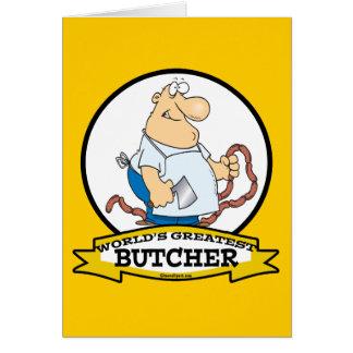 WORLDS GREATEST BUTCHER MEN CARTOON GREETING CARD