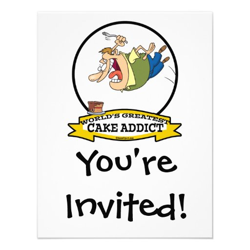 WORLDS GREATEST CAKE ADDICT CARTOON PERSONALIZED ANNOUNCEMENTS