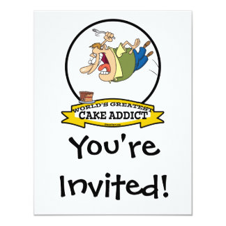 "WORLDS GREATEST CAKE ADDICT CARTOON 4.25"" X 5.5"" INVITATION CARD"