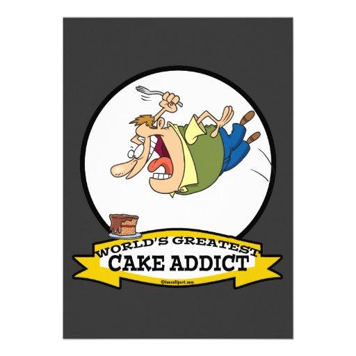 WORLDS GREATEST CAKE ADDICT CARTOON CUSTOM ANNOUNCEMENT