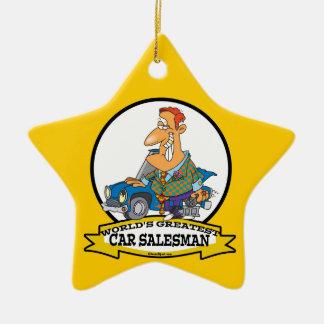 WORLDS GREATEST CAR SALESMAN II CARTOON CHRISTMAS ORNAMENT