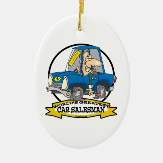 WORLDS GREATEST CAR SALESMAN MEN CARTOON CHRISTMAS ORNAMENT
