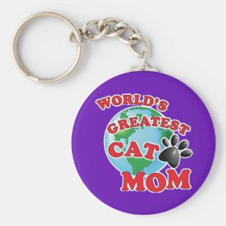 World's Greatest Cat Mom Paw Print Key Ring