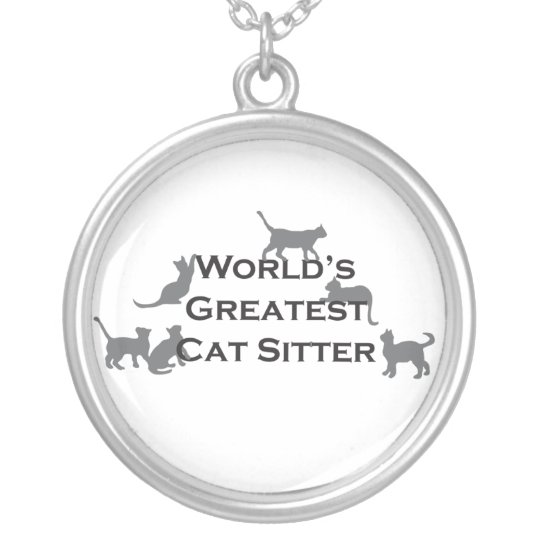 World's Greatest Cat Sitter Silver Plated Necklace