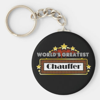 World's Greatest Chauffer Basic Round Button Key Ring