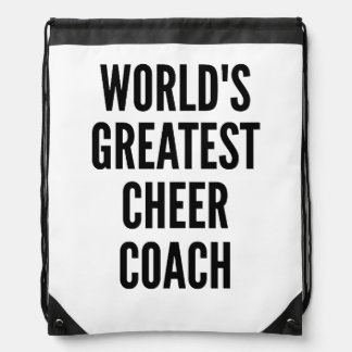 Worlds Greatest Cheer Coach Drawstring Bag