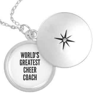 Worlds Greatest Cheer Coach Round Locket Necklace