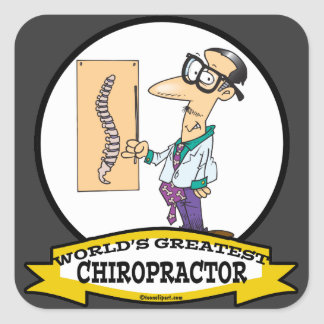 WORLDS GREATEST CHIROPRACTOR MEN CARTOON STICKERS