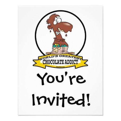 WORLDS GREATEST CHOCOLATE ADDICT CARTOON CUSTOM INVITE