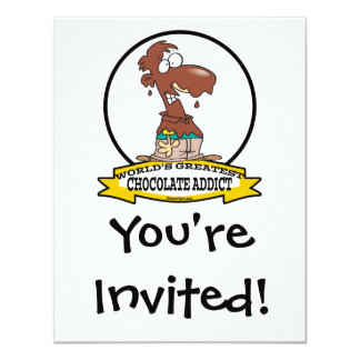 "WORLDS GREATEST CHOCOLATE ADDICT CARTOON 4.25"" X 5.5"" INVITATION CARD"