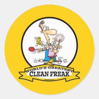 WORLDS GREATEST CLEAN FREAK MEN CARTOON CLASSIC ROUND STICKER