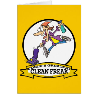 WORLDS GREATEST CLEAN FREAK WOMEN CARTOON CARD