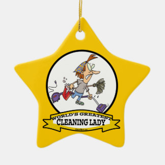 WORLDS GREATEST CLEANING LADY CARTOON CHRISTMAS ORNAMENT