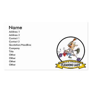 WORLDS GREATEST CLEANING LADY CARTOON PACK OF STANDARD BUSINESS CARDS