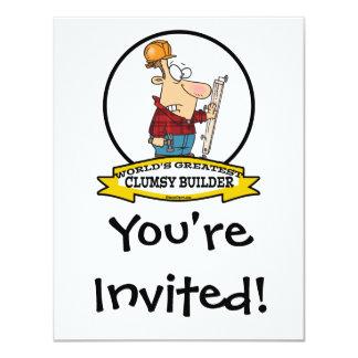 WORLDS GREATEST CLUMSY BUILDER MEN CARTOON 11 CM X 14 CM INVITATION CARD