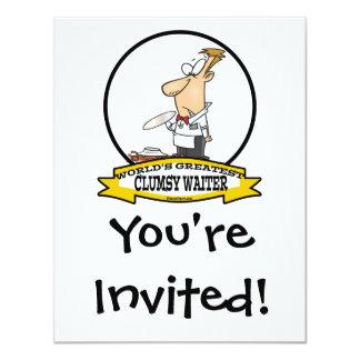 WORLDS GREATEST CLUMSY WAITER MEN CARTOON 11 CM X 14 CM INVITATION CARD